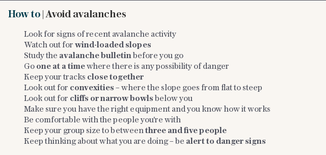 How to | Avoid avalanches