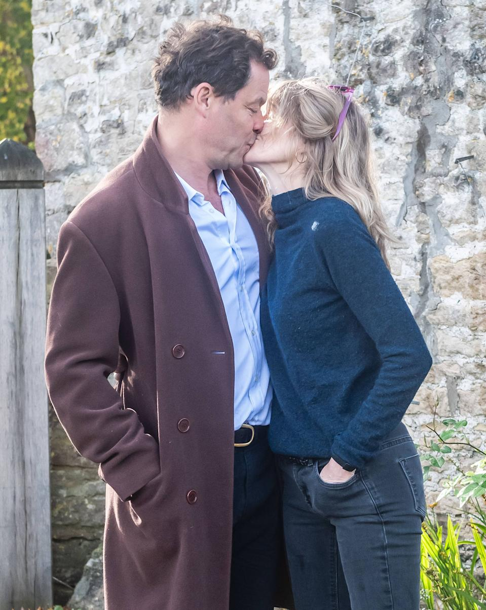 Dominic West and wife Catherine FitzGerald make a statement to press outside their Cotswolds home after Dominic was seen kissing actress Lily James whilst in Rome on October 13, 2020 in Cotswolds, England