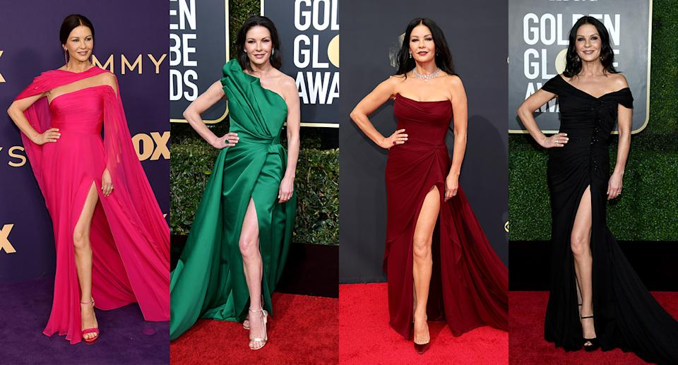 Catherine Zeta Jones, 51, has perfected both her red carpet signature style and stance. (Getty Images)