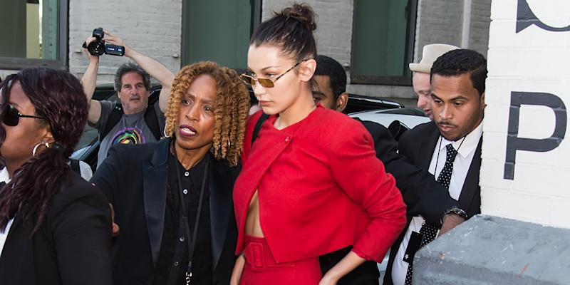 Bella Hadid told off her security guard outside the Michael Kors show.