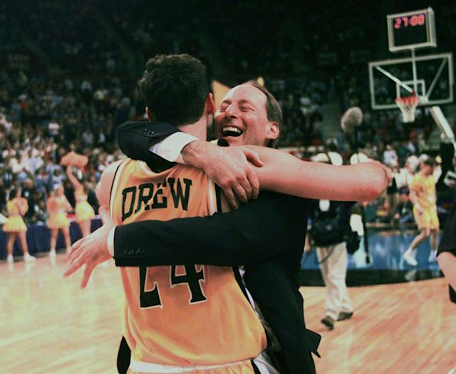 Homer Drew hugs his son, Bryce Drew, after Bryce hit a game-winning three-point shot, at the buzzer, to beat Mississippi 70-69 in the first round of the NCAA Midwest Regional in 1998. (AP)