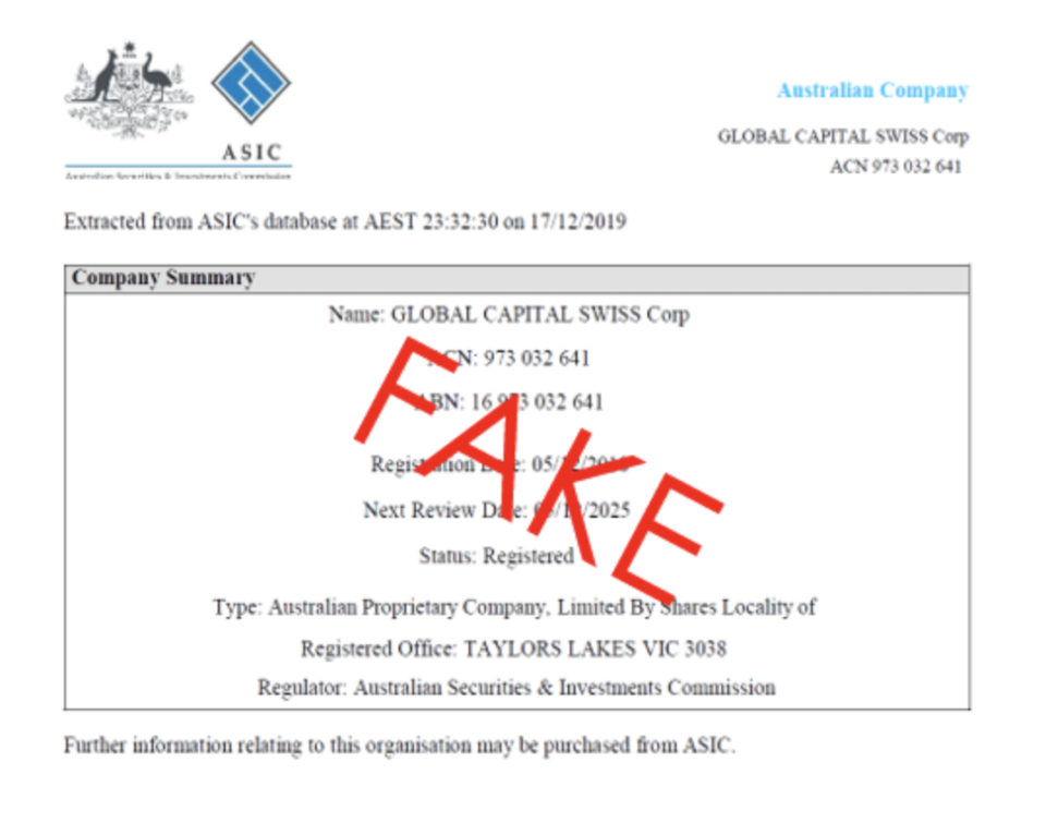 Example of a fake ASIC endorsement