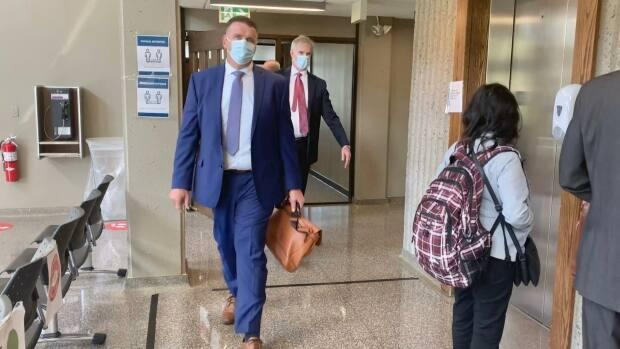 Colin Sproul of the Unified Fisheries Conservation Alliance is seen exiting the courtroom at the Nova Scotia Supreme Court on Wednesday. (CBC - image credit)