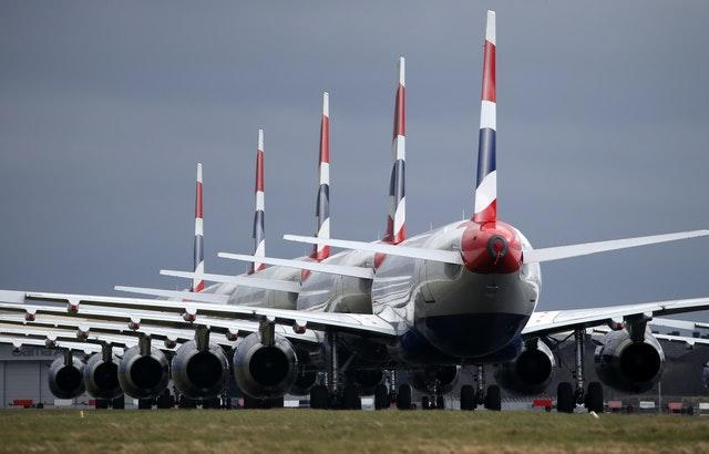 Airlines grounded the majority of their fleets following the coronavirus outbreak (Andrew Milligan/PA)