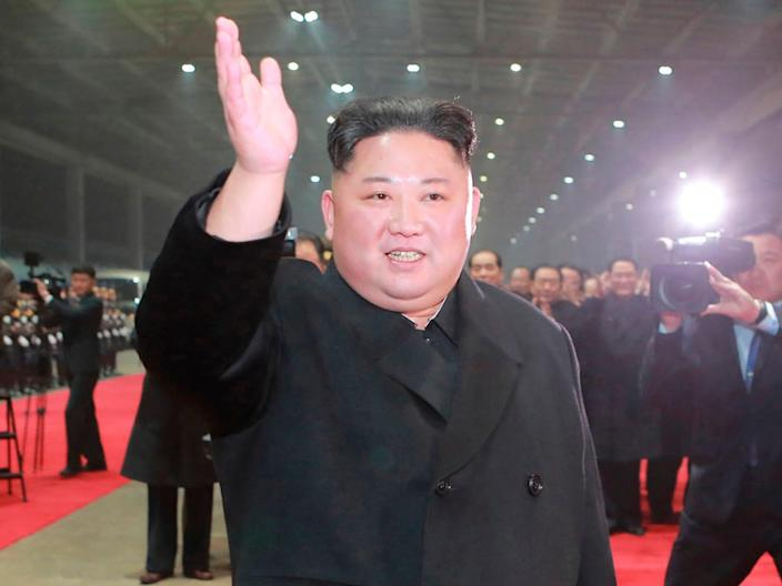 """In this March 5, 2019, photo provided by the North Korean government, North Korean leader Kim Jong Un arrives at Pyongyang station after his visit to Vietnam, in Pyongyang. The content of this image is as provided and cannot be independently verified. Korean language watermark on image as provided by source reads: """"KCNA"""" which is the abbreviation for Korean Central News Agency. (Korean Central News Agency/Korea News Service via AP)"""