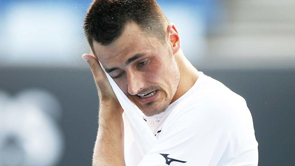 Bernard Tomic, pictured here in action during qualifying for the 2020 Australian Open.