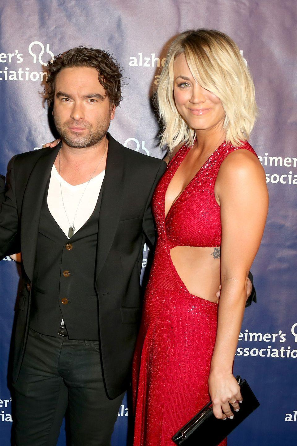 """<p>Fiction imitated reality when <em>The Big Bang Theory</em> co-stars Cuoco and Galecki began dating in real life as their characters Penny and Leonard were dating on screen. After a two year relationship, they decided to go back to being 'just' friends <a href=""""http://www.huffingtonpost.com/entry/kaley-cuoco-johnny-galecki-dating-rumors_us_561fdae1e4b028dd7ea70059"""" rel=""""nofollow noopener"""" target=""""_blank"""" data-ylk=""""slk:in 2009"""" class=""""link rapid-noclick-resp"""">in 2009</a>. With the show about to start its 10th season, rumor has it that the on-screen couple might be getting back together in real-life, but we'll have to see about that.</p>"""