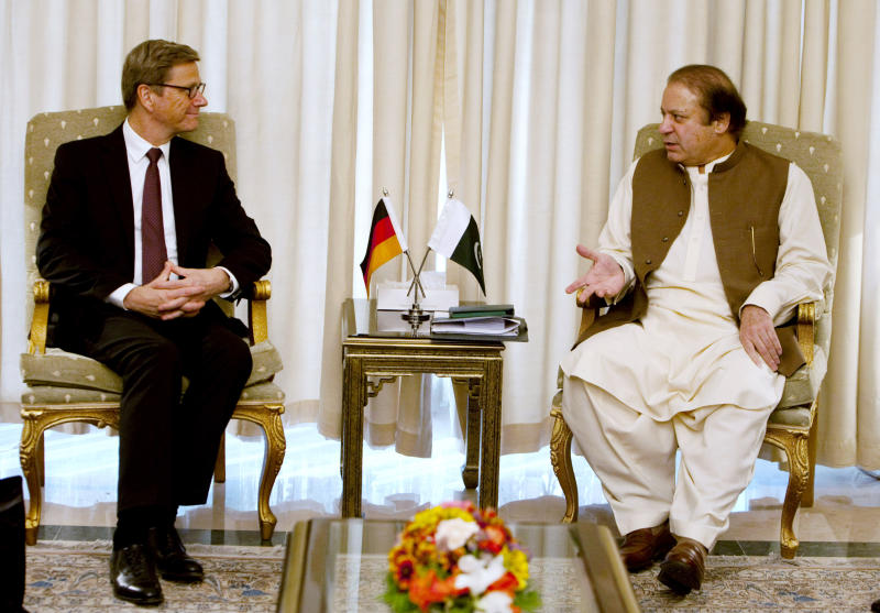 Visiting German Foreign Minister Guido Westerwelle, left, listens to Pakistan's Prime Minister Nawaz Sharif during their meeting in Islamabad, Pakistan on Saturday, June 8, 2013. Westerwelle arrived in Islamabad on his two-day visit to Pakistan for talks with the new government on bilateral and regional matters, focusing on security issues and peace in Afghanistan. (AP Photo/Anjum Naveed)