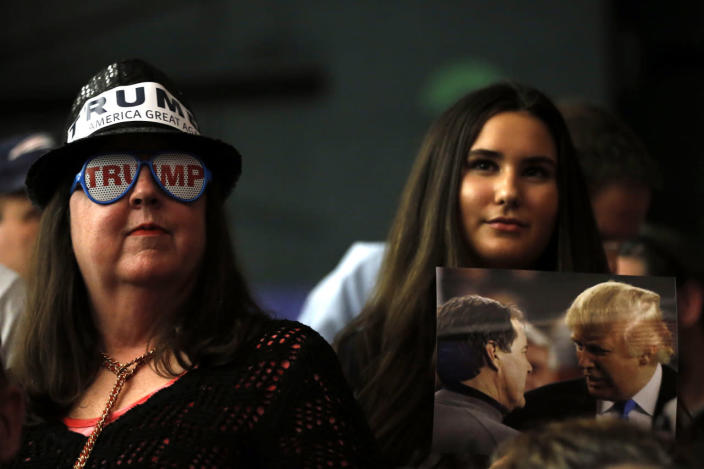 <p>Attendees listen to Republican presidential candidate Donald Trump at a campaign stop Tuesday, Feb. 2, 2016, in Milford, N.H. <i>(Photo: Matt Rourke/AP)</i></p>
