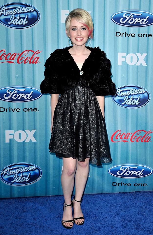 """Finalist <a href=""""/alexis-grace/contributor/2461053"""">Alexis Grace</a> arrives at the <a href=""""/american-idol/show/34934"""">""""American Idol""""</a> Top 13 Party held at AREA nightclub on March 5, 2009 in Los Angeles, California."""
