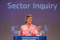 EU Commissioner for Competition Margrethe Vestager holds a news conference at the European Commission in Brussels
