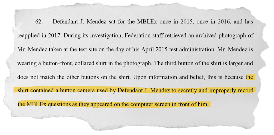 A one-stop-shop company for massage licenses was providing exam answers to clients. A man recorded the answers via a button-shaped camera, civil court records say.