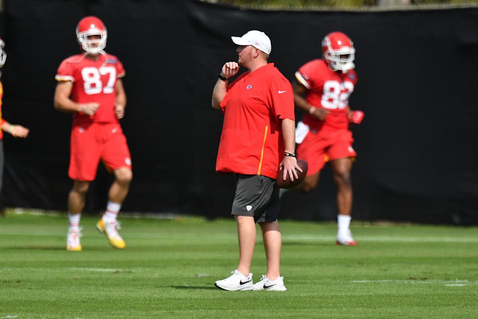 DAVIE, FLORIDA - JANUARY 30: Linebackers coach Britt Reid looks on during the Kansas City Chiefs practice prior to Super Bowl LIV at Baptist Health Training Facility at Nova Southern University on January 30, 2020 in Davie, Florida. (Photo by Mark Brown/Getty Images)