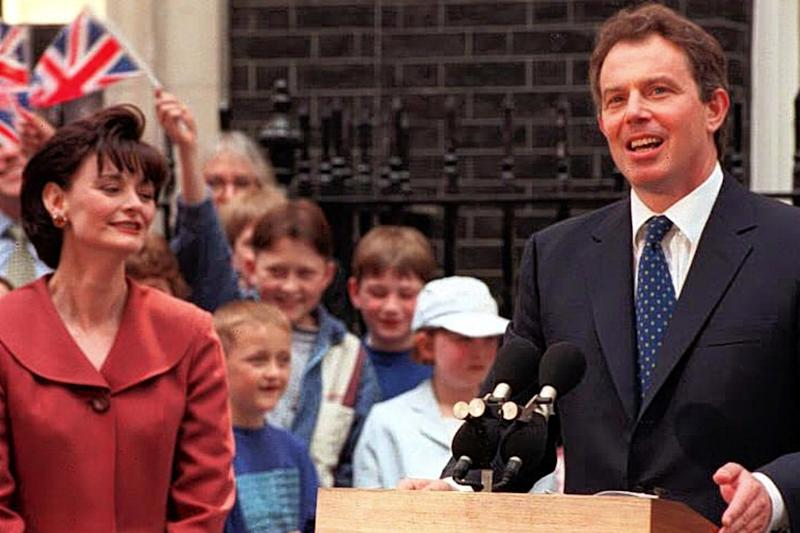 Tony Blair speaking outside No 10 Downing Street after his victory in the 1997 election