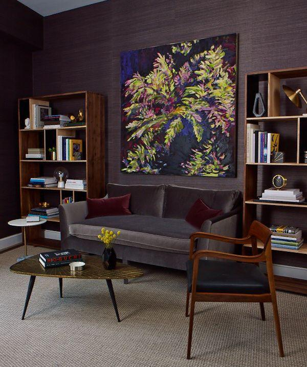 <p>Grasscloth wallpaper has the warmth you'd expect from fabrics and introduces more texture than other wallpaper substrates since it's made from natural fibers. We love this deep chocolate brown hue for a cozy setting. </p>