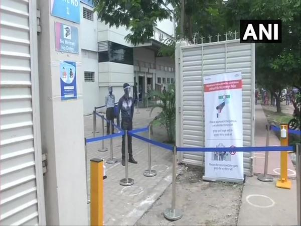Preparations to ensure COVID-19 protocols underway at an exam centre in Ranchi. (Photo/ANI)