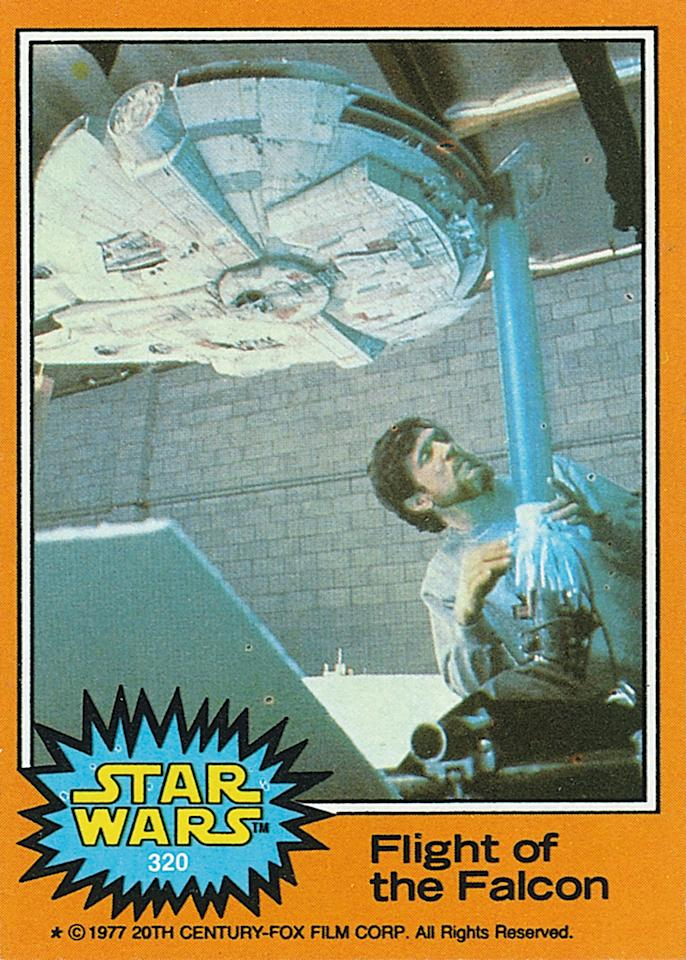 <p>The final wave of cards featured tons of behind-the-scenes photos giving fans a glimpse of the movie-making process. Here Richard Edlund sets up the <i>Falcon</i>.<i>(Credit: Abrams ComicArts and Lucasfilm, LTD 2015)</i></p>