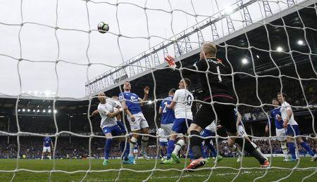 Britain Football Soccer - Everton v Leicester City - Premier League - Goodison Park - 9/4/17 Everton's Phil Jagielka scores their third goal Action Images via Reuters / Carl Recine Livepic