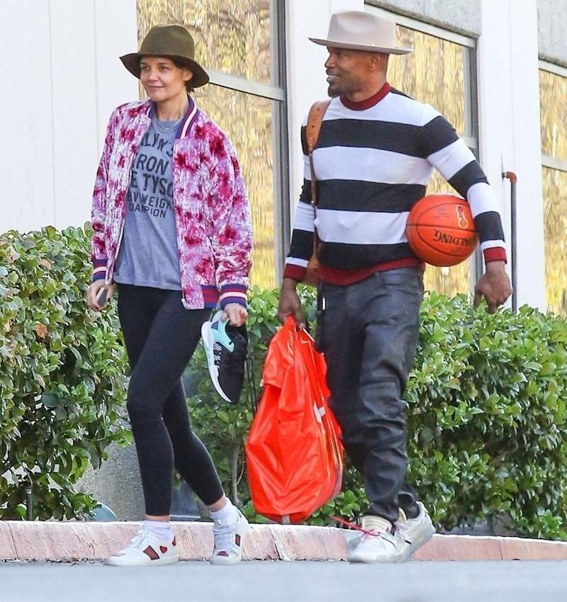 Katie Holmes and Jamie Foxx spent Valentine's Day playing basketball