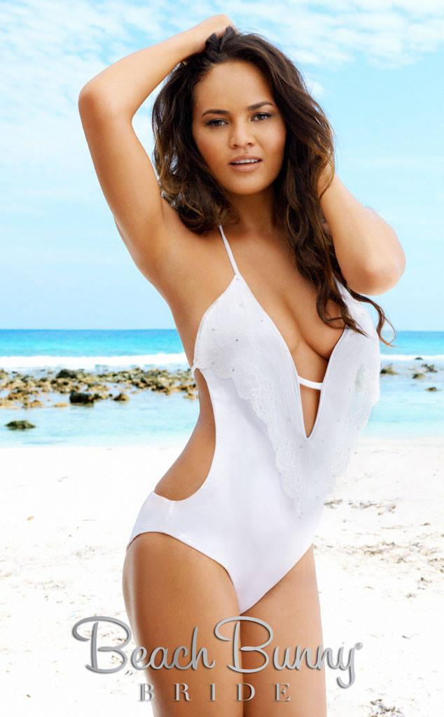 Chrissy Teigen wearing one of her bridal bikini designs. (Photo: Beach Bunny Bride)