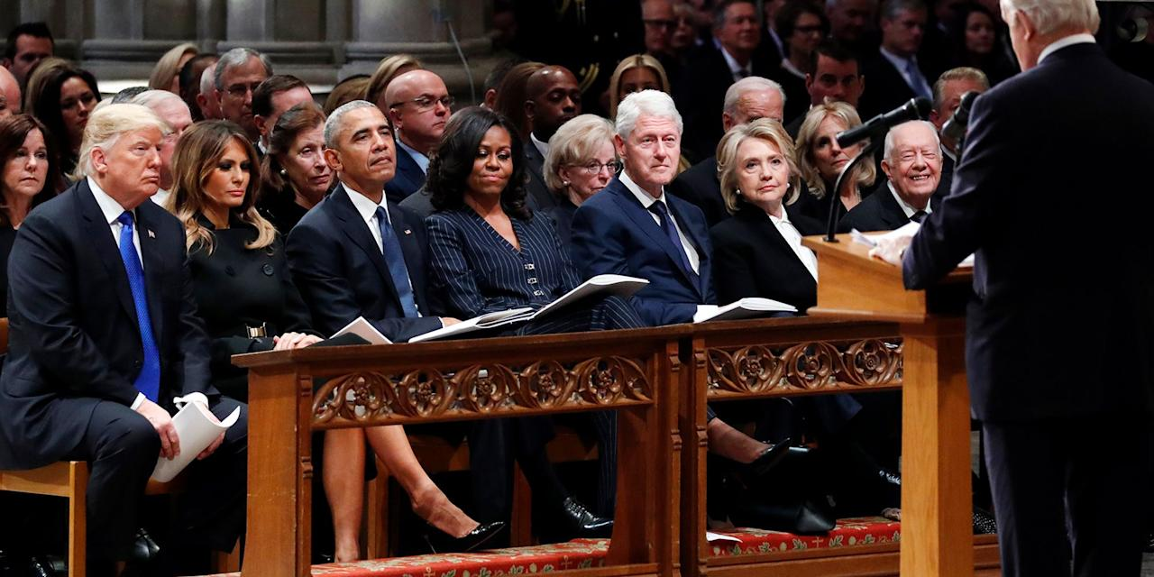 """<p>""""To us, his was the brightest of 1,000 points of light,"""" said former President George W. Bush during the funeral service for his father, former President George H.W. Bush on Wednesday, to a crowd that included every current and former living president and vice president of the United States.</p><p>""""He showed me what it means to be a president who serves with integrity, leads with courage, and acts with love in his heart for the citizens of our country,"""" said the eldest Bush son. """"Through our tears, let us know the blessings of knowing and loving you-a great and noble man, the best father a son or daughter can have. And, in our grief, let us smile knowing that Dad is hugging Robin and holding Mom's hand again.""""</p><p>Also at the funeral were members of Congressional leadership, including Paul Ryan, Mitch McConnell, Chuck Schumer, and Nancy Pelosi, as well as foreign dignitaries, including German Chancellor Angela Merkel and former Canadian Prime Minister Brian Mulroney, who was a friend of H.W.</p><p>While President Trump did not speak at the funeral-traditionally, the sitting president usually makes remarks at presidential funerals-he did appear to sit quietly for the duration of the service. According to the <em>New York Times</em>, this is the first time Trump has joined former presidents at any event since his inauguration. <em></em></p>"""