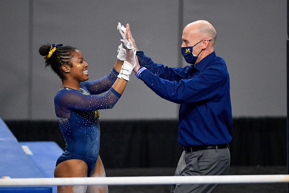 Wolverines gymnast Sierra Brooks, left, says she vets any opportunities around her name, image and likeness to make sure they align with her values.