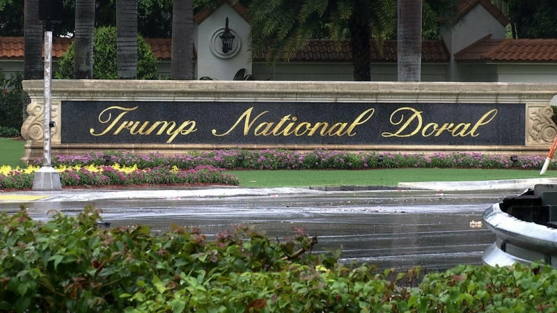 FILE - This June 2, 2017 file frame from video shows the Trump National Doral in Doral, Fla. President Donald Trump was in full sales mode Monday, Aug. 26, 2019, doing everything but passing out brochures as he touted the features that would make the Doral golf resort the ideal place for the next G7 Summit _ close to the airport, plenty of hotel rooms, separate buildings for every delegation, even top facilities for the media.  (AP Photo/Alex Sanz, File)