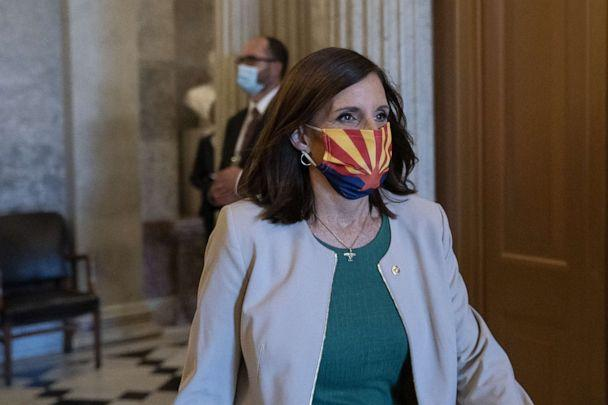 PHOTO: Senator Martha McSally, a Republican from Arizona, wears a protective mask as she leaves the Senate Floor at the U.S. Capitol in Washington, D.C., Sept. 9, 2020. (Stefani Reynolds/Bloomberg via Getty Images, FILE)