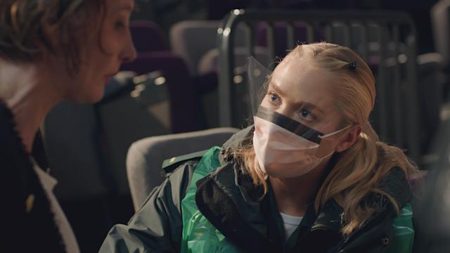 <em>Casualty </em>paramedic Ruby Spark, played by Maddy Hill, wearing a protective face mask. (BBC)