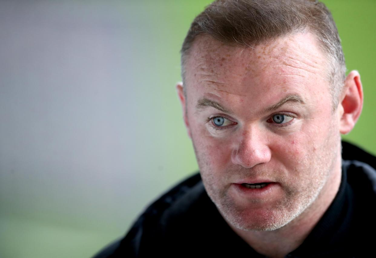 Derby County manager Wayne Rooney is interviewed at the end of the Sky Bet Championship match at the Liberty Stadium, Swansea. Issue date: Saturday May 1, 2021. (Photo by Nick Potts/PA Images via Getty Images)