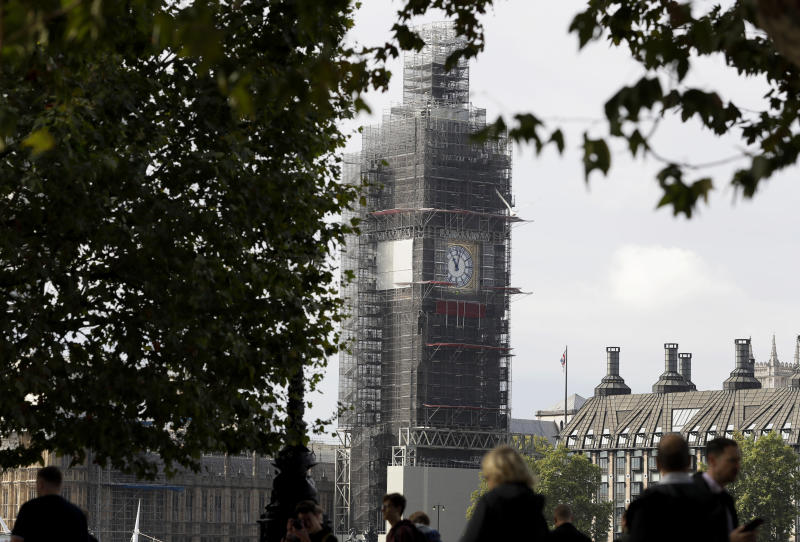 Scaffolding surrounds the Elizabeth Tower housing the Big Ben clock of Britain's Parliament in London, Monday, Sept. 30, 2019. Prime Minister Boris Johnson has vowed that Britain will leave the European Union on the scheduled date of Oct. 31, with or without a divorce deal governing future relations with the bloc. (AP Photo/Kirsty Wigglesworth)
