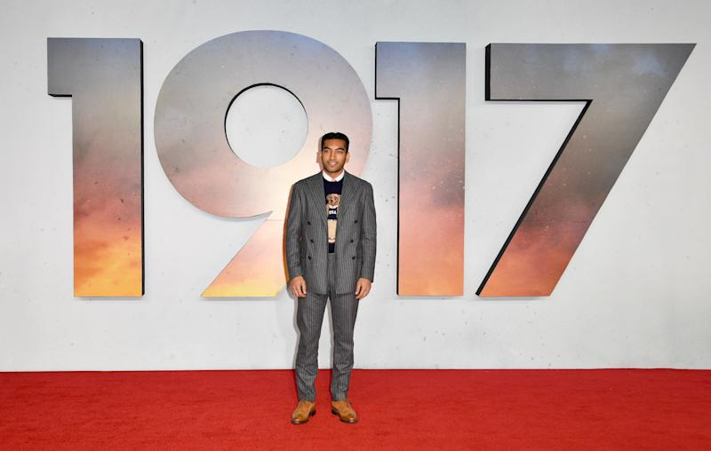 Nabhaan Rizwan attends the 1917 World Premiere in London's Leicester Square. (Photo: Gareth Cattermole via Getty Images)