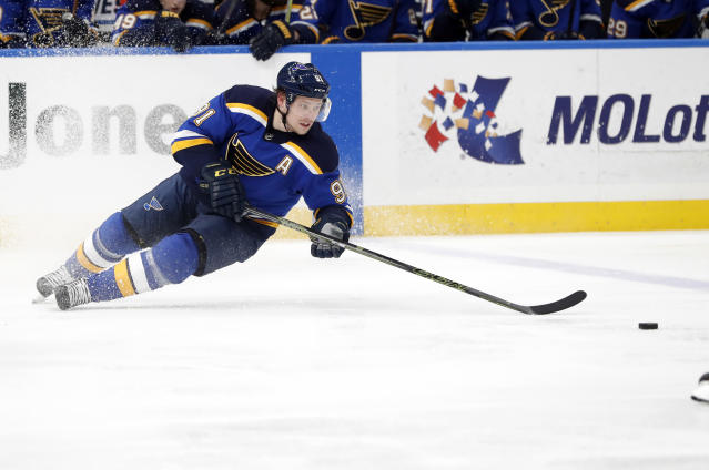 Vladimir Tarasenko is expected to miss up over a week — bad news for the Blues. (AP Photo/Jeff Roberson)
