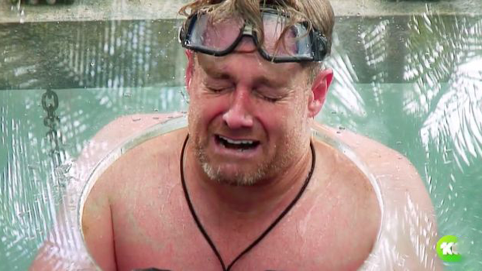 Grante Denyer looks in pain during ice water challenge