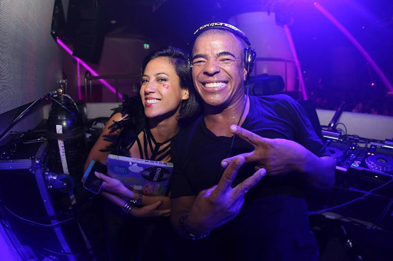 DJs Gaby Endo (L) and Erick Morillo at the Pacha nightclub opening in Macau (AFP Photo/KESTER)