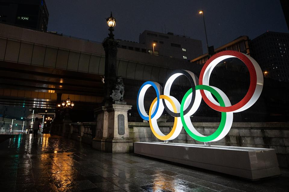 TOKYO, JAPAN - JULY 09: The Olympic Rings are displayed on July 09, 2021 in Tokyo, Japan. Tokyo Olympic organizers stated yesterday that spectators would be barred from most events at the Games after a new state of emergency was announced in response to a surge in coronavirus cases. The state of emergency will run throughout the Olympic Games and remain in place until August 22nd. (Photo by Takashi Aoyama/Getty Images)