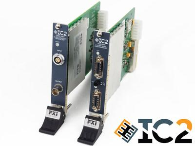 IC2's current PXI offerings; DirectShear Control Unit (left) and 8-Channel IEPE Signal Conditioner (right).