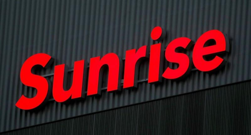 FILE PHOTO: Swiss telecom company Sunrise's logo is seen at its headquarters in Opfikon