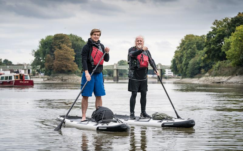 Bill Baily and Marcel Theroux make their way along the Thames - Andrew Crowley