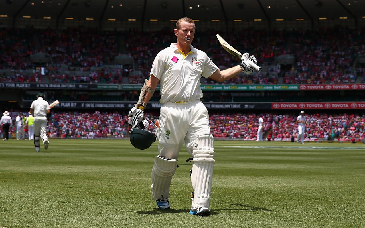 SYDNEY, AUSTRALIA - JANUARY 05:  Chris Rogers of Australia leaves the ground after he was dismissed by Scott Borthwick of England for 119 runs during day three of the Fifth Ashes Test match between Australia and England at Sydney Cricket Ground on January 5, 2014 in Sydney, Australia.  (Photo by Ryan Pierse/Getty Images)