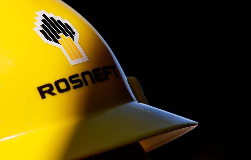 FILE PHOTO: A view shows a helmet with the logo of Rosneft company in Vung Tau
