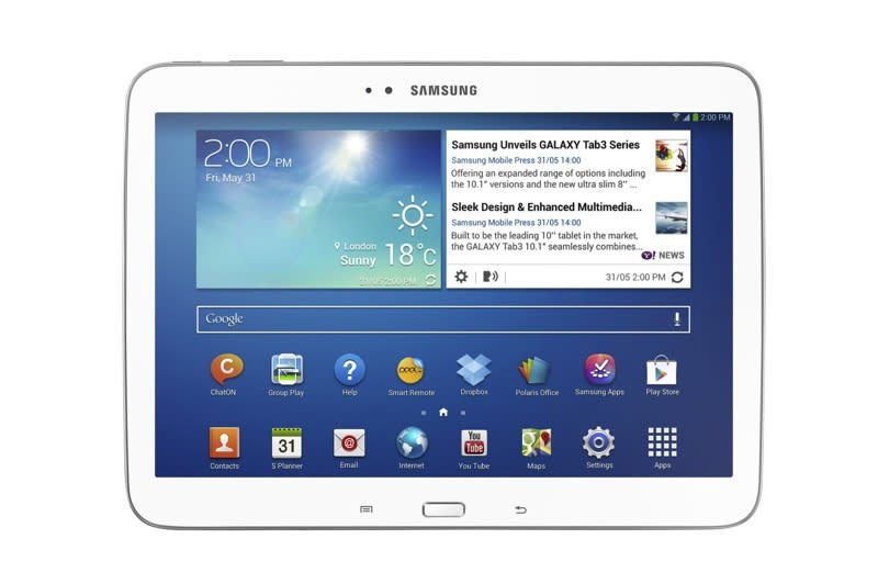 The 10-inch model of Samsung Electronics Company's new Galaxy Tab 3 series tablet computer is seen in an undated photo provided by Samsung. Samsung Electronics Co., the second-largest maker of tablets after Apple, is putting three new tablets in the Galaxy Tab 3 series on sale in the U.S. on July 7, making its tablet computers look more like its hit Galaxy phones in the hope that the success of the smartphones can boost tablet sales. (AP Photo/Samsung Electronics Co.)
