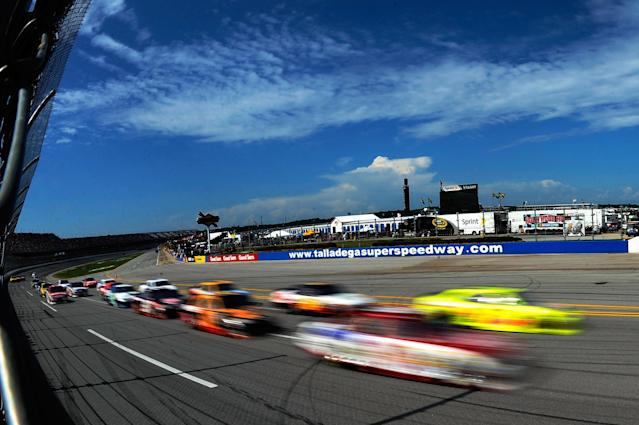 TALLADEGA, AL - MAY 06: Cars race during the NASCAR Sprint Cup Series Aaron's 499 at Talladega Superspeedway on May 6, 2012 in Talladega, Alabama. (Photo by Jared C. Tilton/Getty Images)