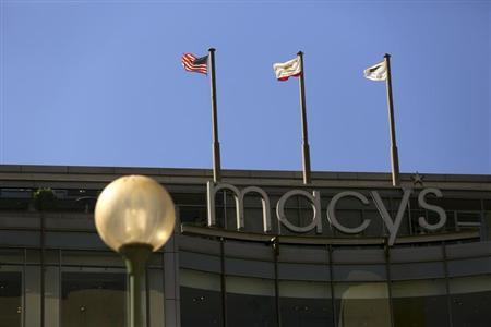 A sign is seen outside a Macy's retail store in San Francisco, California