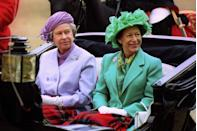 <p>Princess Margaret and Queen Elizabeth en route to the Horse Guards Parade.</p>