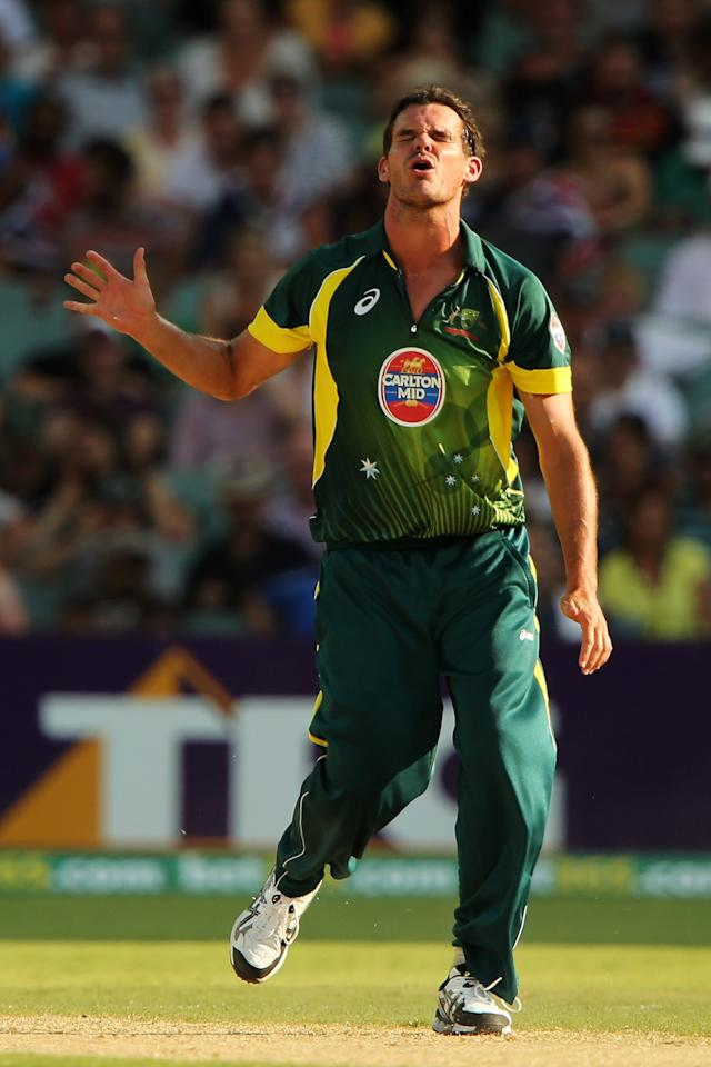 ADELAIDE, AUSTRALIA - JANUARY 26: Clint McKay of Australia reacts after bowling a delivery during game five of the One Day International Series between Australia and England at Adelaide Oval on January 26, 2014 in Adelaide, Australia.  (Photo by Daniel Kalisz/Getty Images)