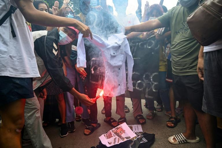 Protesters in coup-hit Myanmar have marked junta leader Min Aung Hlaing's birthday by burning his portrait and staging fake funerals