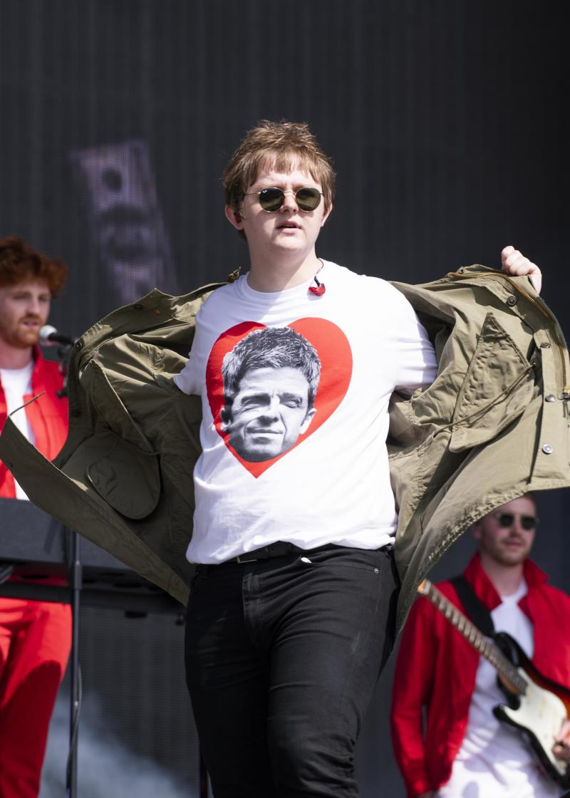 Lewis Capaldi shows off his Noel Gallagher t-shirt as he performs live on stage on day 4 of Glastonbury 2019, Worthy Farm, Pilton, Somerset. Picture date: Saturday 29th June 2019. Photo credit should read: David Jensen/EmpicsEntertainment