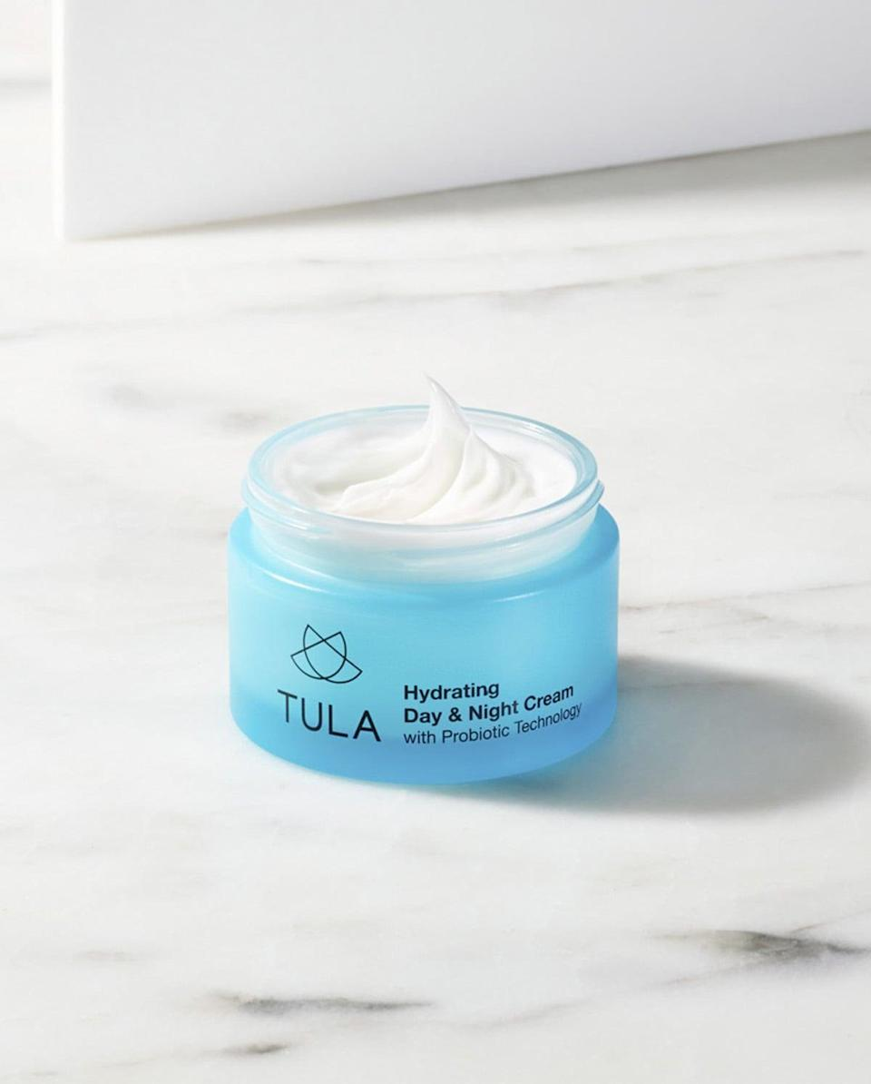 <p>Ah, I love a good dual-action product, but can this really be effective if it's made for day AND night? The answer is yes, thanks to some powerful antioxidants. Plus, it smells like cucumber so you'll feel like you just came from the spa.</p> <p><span>TULA Hydrating Day and Night Cream</span> ($52)</p>