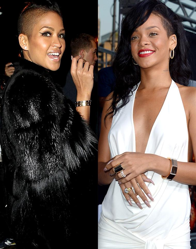"<p class=""MsoListParagraph"" style=""text-align:justify;"">Few celebs change their hairstyles more than Rihanna does, but the songstress showed off an especially dramatic 'do earlier this year when she shaved just one side of her head and left the other side's locks long. But she wasn't the first musical maven to show off the one-sided style. Another singer, Cassie, debuted the look three years earlier and has admitted it takes a bit of maintenance since she has to get it cut once a week. This year, the 26-year-old took the style a step further and shaved both sides. Now that's bold! </p>"